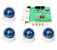 4 CH Digital Recorder DVR Card with 4 Wired DOME Cameras